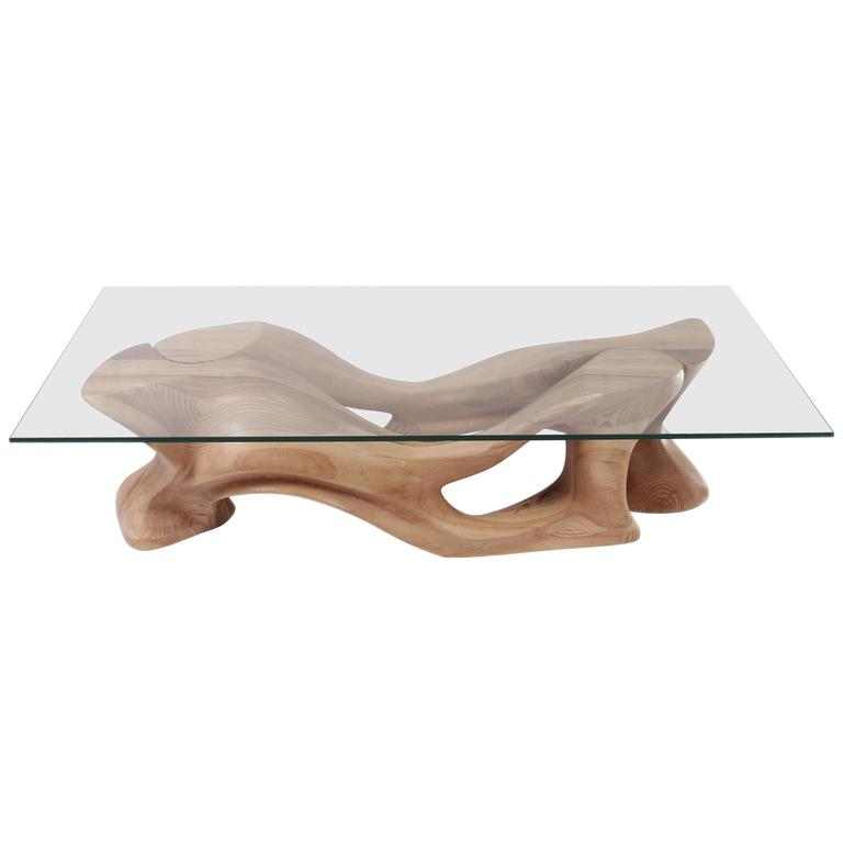 Contemporary Coffee Table Solid Ash Wood Natural Color With Glass Top Two Pieces For Sale At 1stdibs