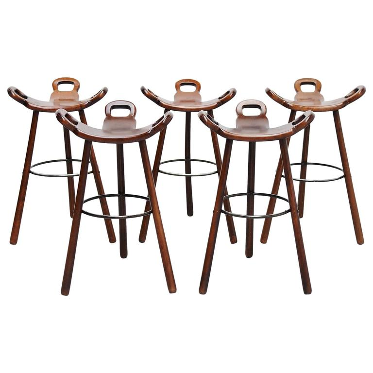 Five Bar Stools Attributed To Carl Malmsten Sweden 1950