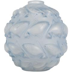 R. Lalique France Vase 'Camaret 'Blue Patinated