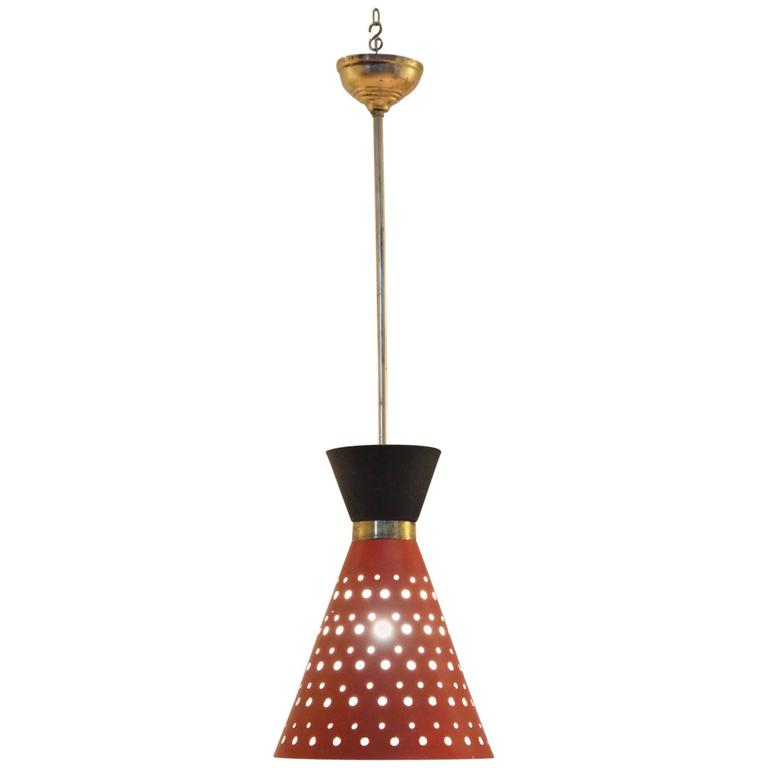 Italian Mid Century 1950s Red Black Diabolo Shaped Pendant Lamp For Sale
