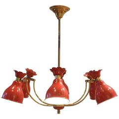 Mid-Century French Design Red Metal Diffusers Chandelier Pendant Lamp