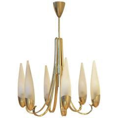Mid-Century Italian Design, Brass and Glass Chandelier Fontana Arte Style