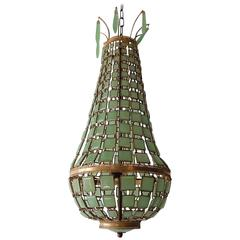 Venetian Green Murano Linked Glass Squares Empire Chandelier