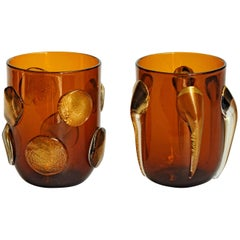 Six Tumblers, Gold Leaf Applications on Deep Amber, Cenedese Style, Murano 1990s