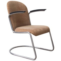 1935, W.H. Gispen by Gispen Culemborg, 413 Easy Chair in Original Corduroi Fabri