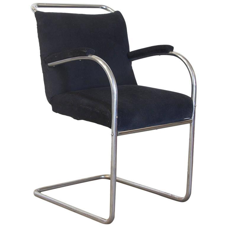 Original Early Vintage Tubular Side Chair, Black Manchester Fabric, circa 1930