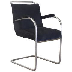 Original Early Vintage Tubular Side Chair, Black Manchester Fabric, circa 1930