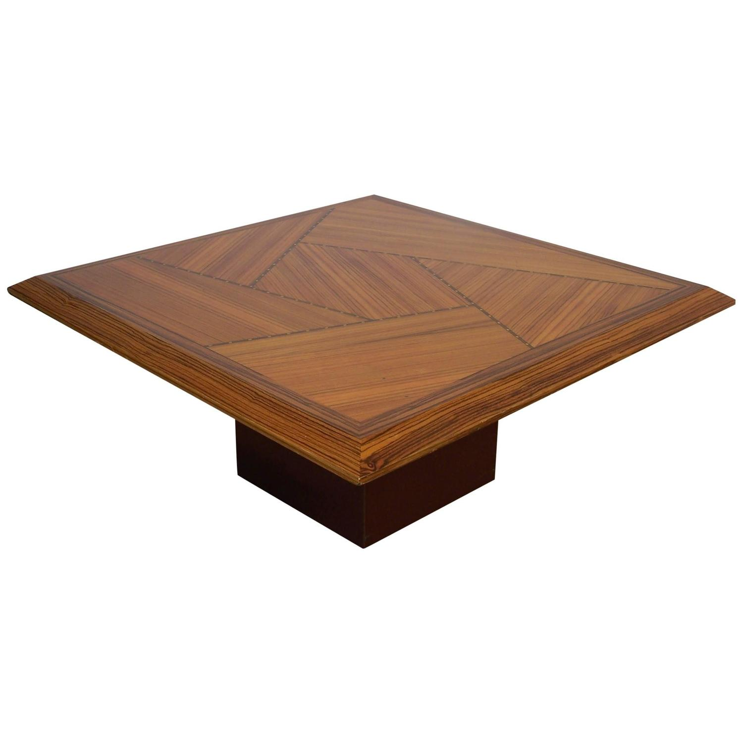 Coffee Table in Zebrano Contemporary Marquetry at 1stdibs