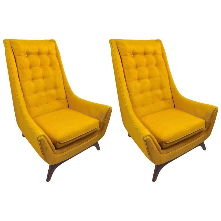 Pair of High Back Lounge Chairs by Madison House attributed to Umanoff