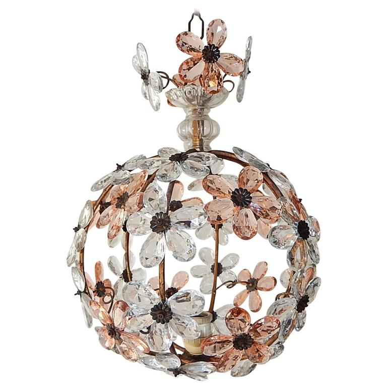 French Pink Flower Ball Crystal Prisms Maison Baguès Style Chandelier