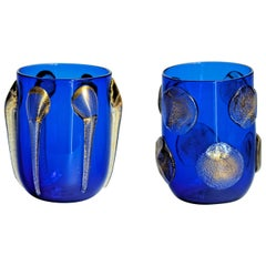 Murano Tumblers, Gold Leaf Applications over Cobalt Blue, Cenedese Style, 1990s