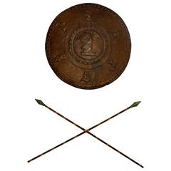 Silent Film Movie Prop Warrior Shield and Spears Wall Décor