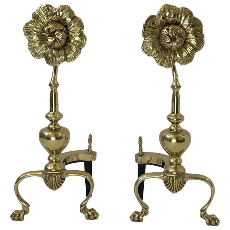 Pair of Polished Brass Flower Andirons