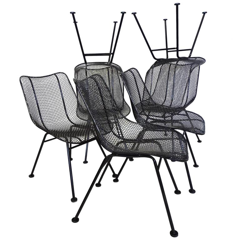 Best Set of 12  Restored Woodard Wrought Iron with Mesh Dining height Chairs