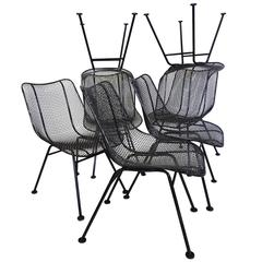 Best Set of 12 Restored Woodard Wrought Iron with Mesh Dining Chairs