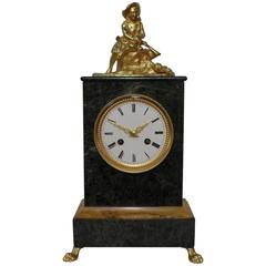 French 19th Century Green Marble Mantel Clock