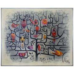 Large Format Lee Reynolds Birds of a Feather Tree of Life Op Pop Painting