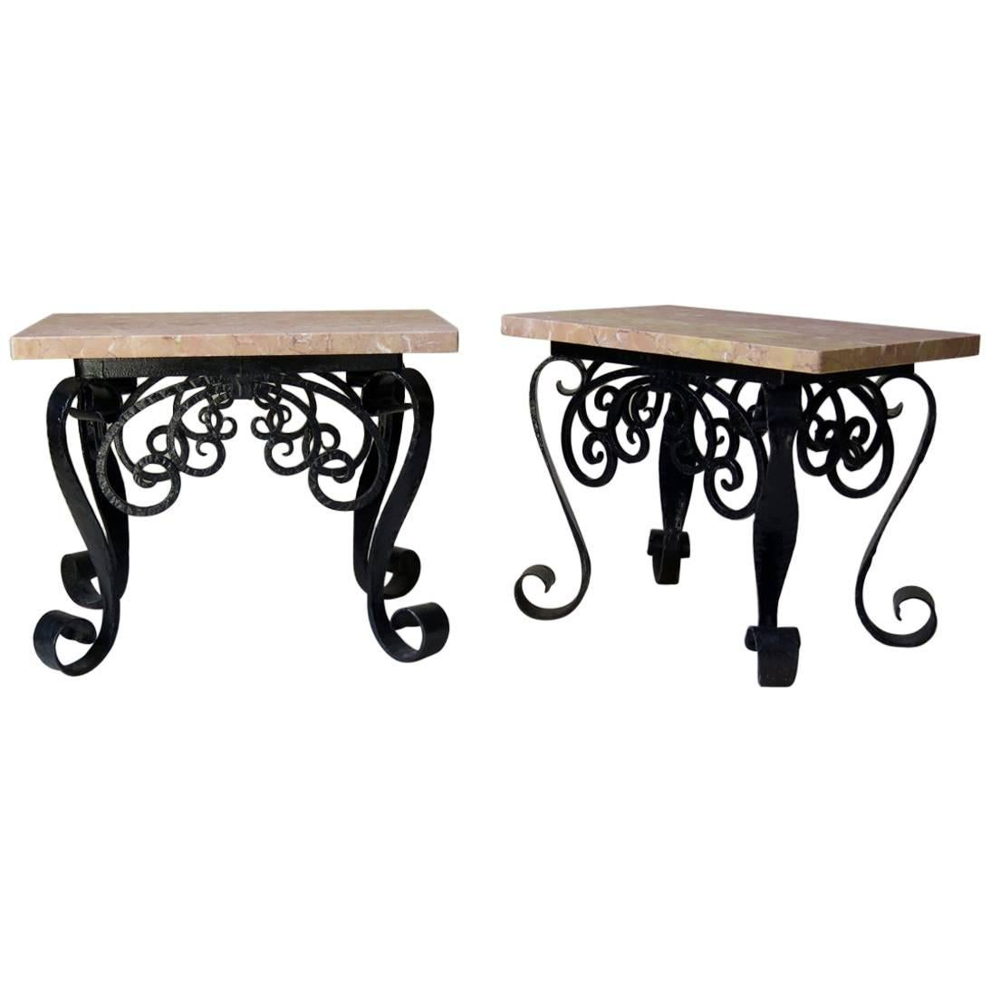 1950s, Spanish Wrought Iron and Pink Marble Side Tables