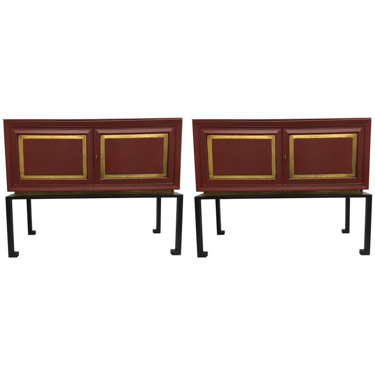 Two French Mid-Century Red Lacquer Sideboards or Consoles by Maison Ramsay, 1940 For Sale