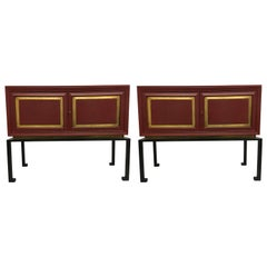 2 French Modern Neoclassical Red Lacquer Sideboards /Bars by Maison Ramsay, 1940