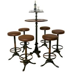 19th Century Gueridon Table and Six High Stools