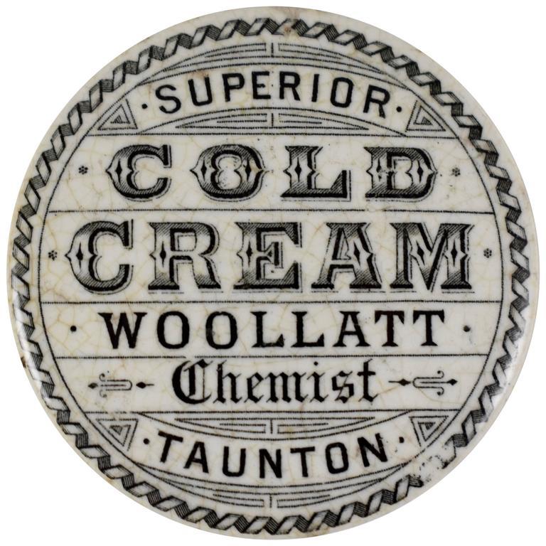 Staffordshire Transfer Printed Pot & Lid, Woollatt Superior Cold Cream