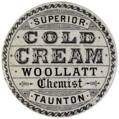Staffordshire Transfer Printed Pot & Lid, Woollatt Superior Cold Cream