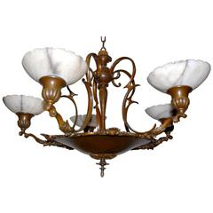 Early 20th Century Elegant Bronze Five-Arm Pendant Light with Alabaster Shades