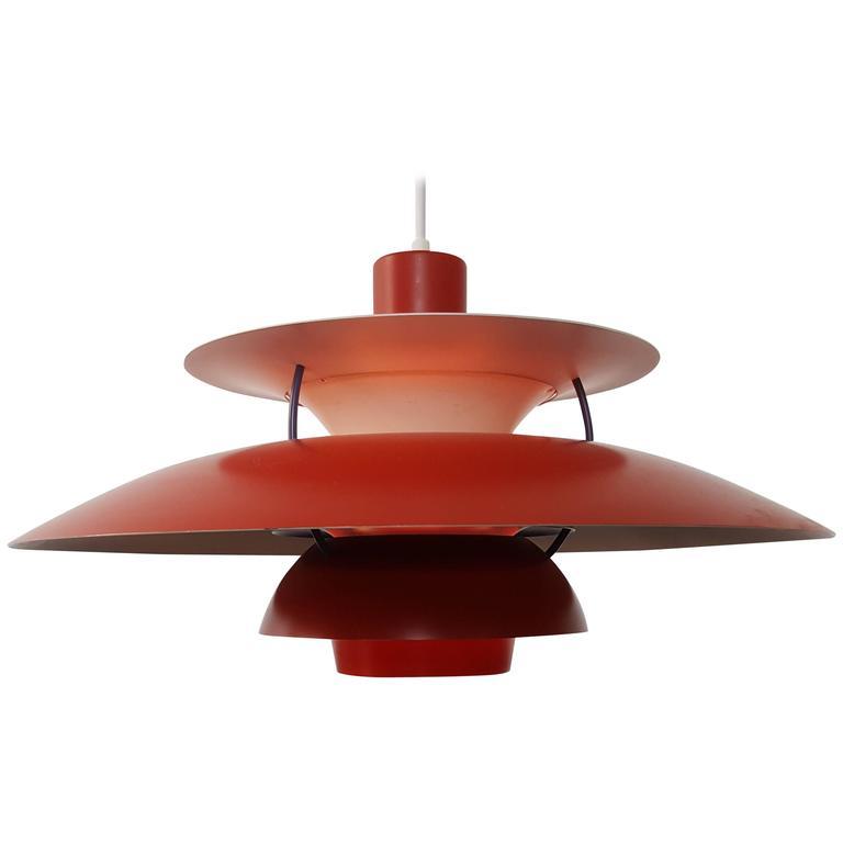 Poul Henningsen PH5 Pendant Light for Louis Poulsen Denmark, Red, Designed 1958