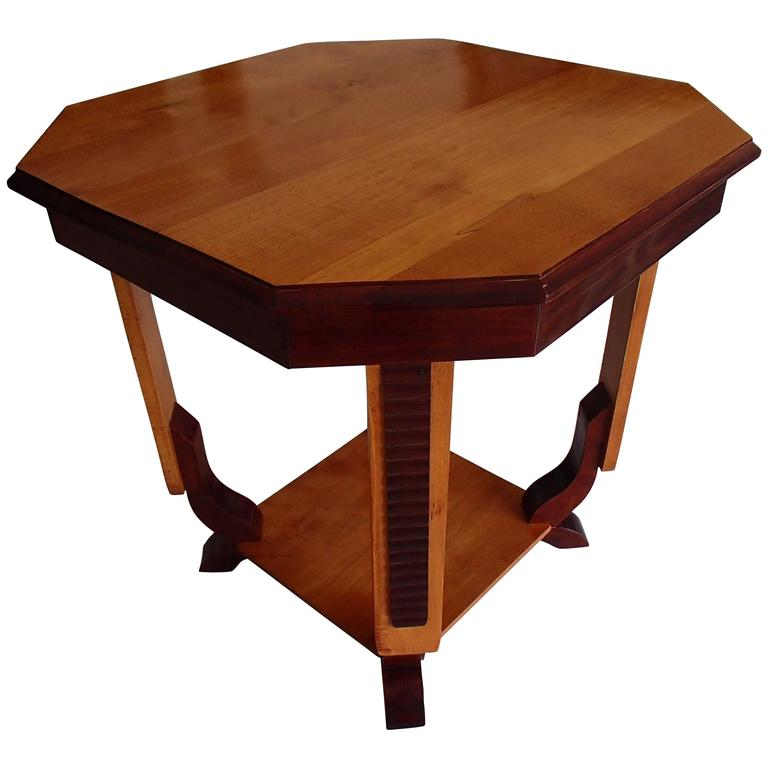 19th Century Octagon Side Table Two Tone Birch For Sale