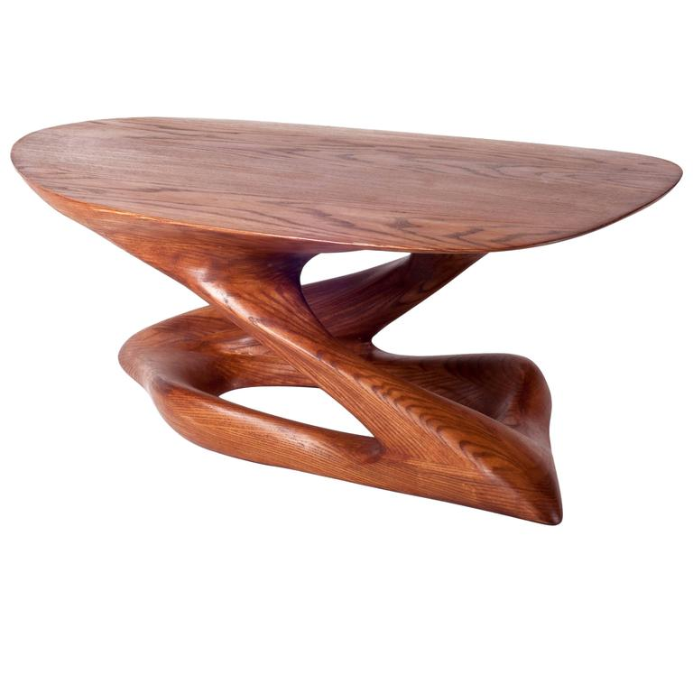 Contemporary Small Coffee Table Ashwood Diagonal Leg Oval Shaped For
