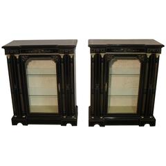 Pair of Victorian Aesthetic Movement Ebonized Display Cabinets or Bookcases