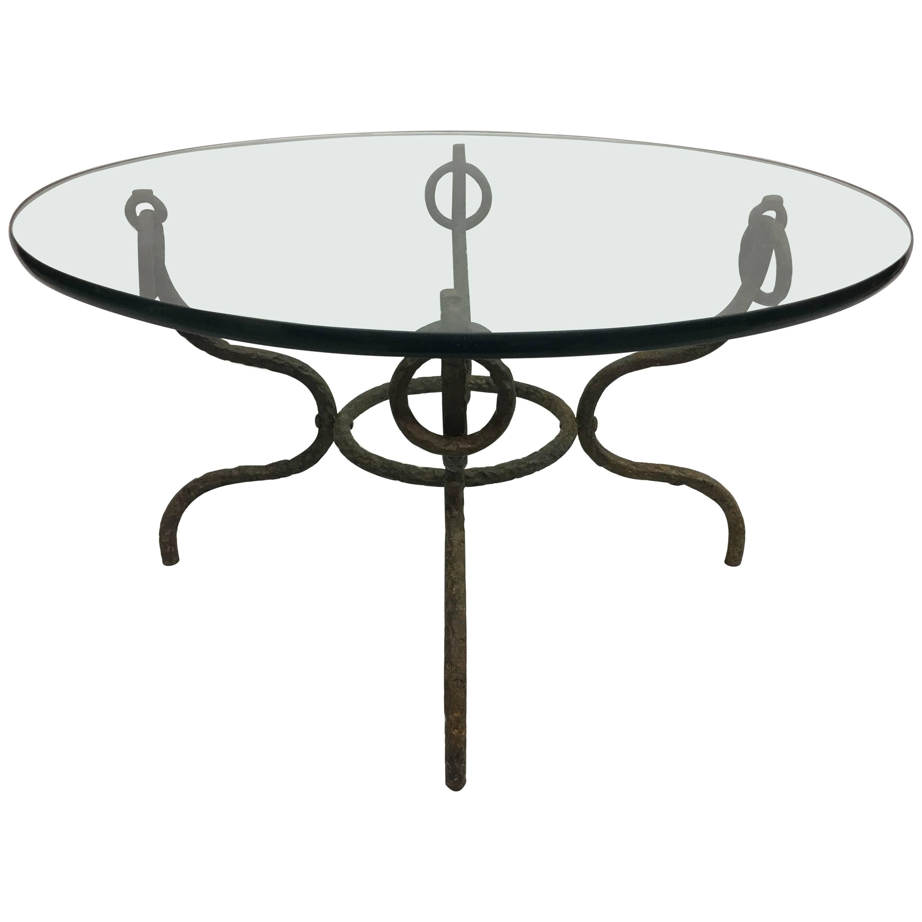 French Mid-Century Hammered Iron / Bronze Coffee Table, Style Giacometti