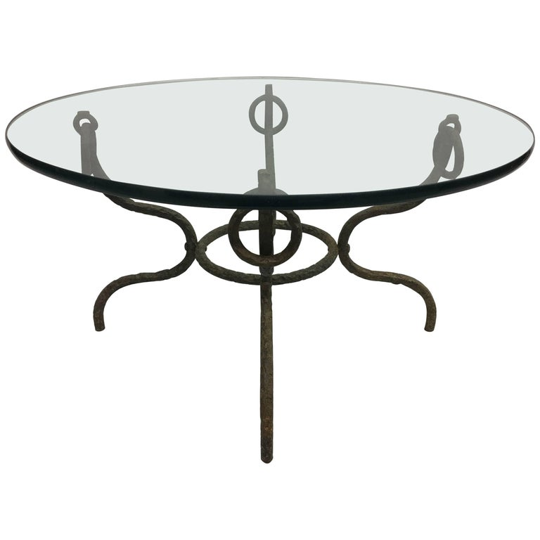 French Mid-Century Hammered Iron / Bronze Coffee Table, Style Giacometti For Sale