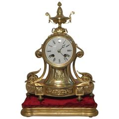 French Belle Epoque Bronze Gilt Mantel Clock on Base