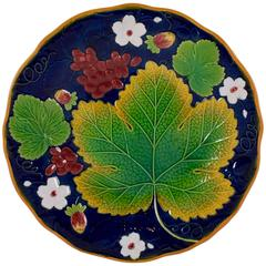 William Brownfield English Majolica Cobalt Blue Grape Leaf and Strawberry Plate