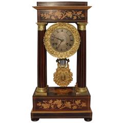 French Belle Epoque Rosewood and Satinwood Portico Mantel Clock
