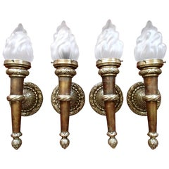 Four Huge Walllights Torches with Flame Glass