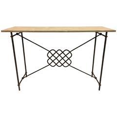 Italian Mid-Century Modern Neoclassical Iron Console /Sofa Table, Giovanni Banci