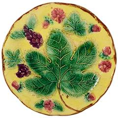 English Majolica Yellow Grape Leaf and Strawberry Plate, 19th Century