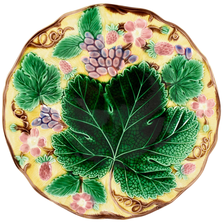 Wedgwood Majolica Yellow Grape Leaf and Strawberry Plate