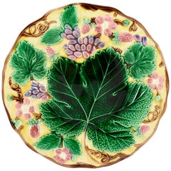 Wedgwood Majolica Yellow Grape Leaf and Strawberry Plate