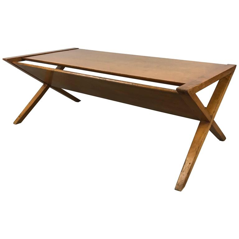Modernist Blonde Mahogany Coffee / Magazine Table, X-Sides, Robsjohn