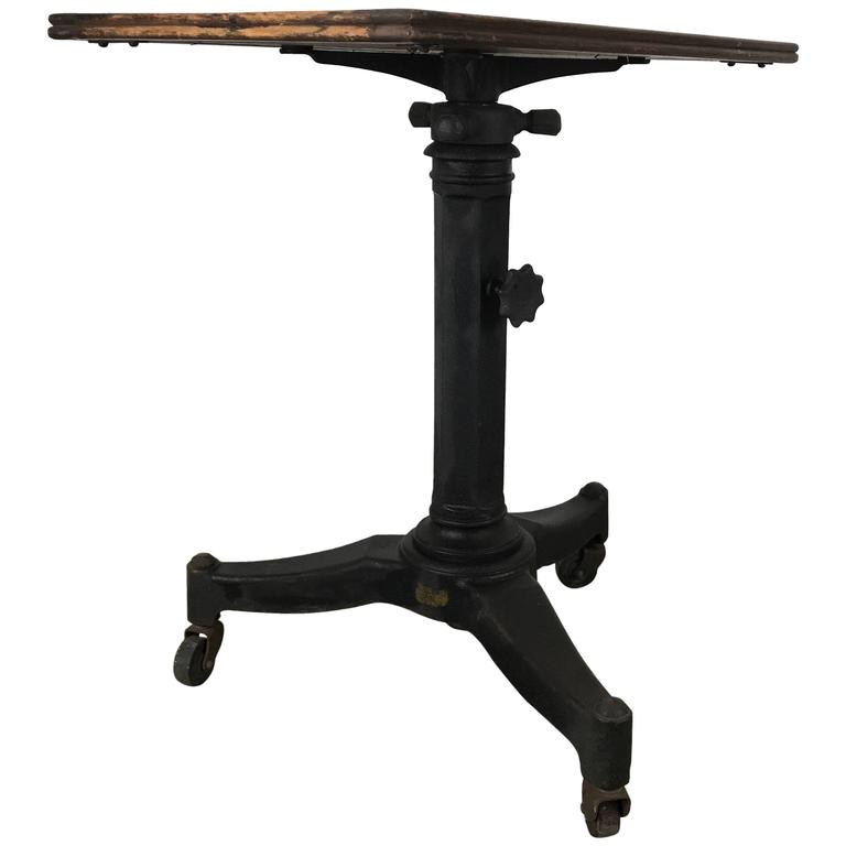 Telescopic Cast Iron and Wood Table/Stand, Karl Manufacturing Co.