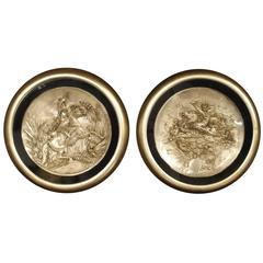 Pair of Classical Antique Silver Plate Plaques, 19th Century