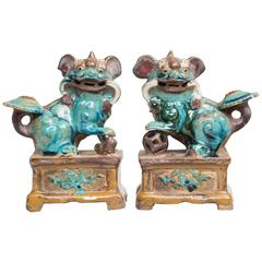 Pair of Chinese Pottery Glazed Foo Dog Incense Holders