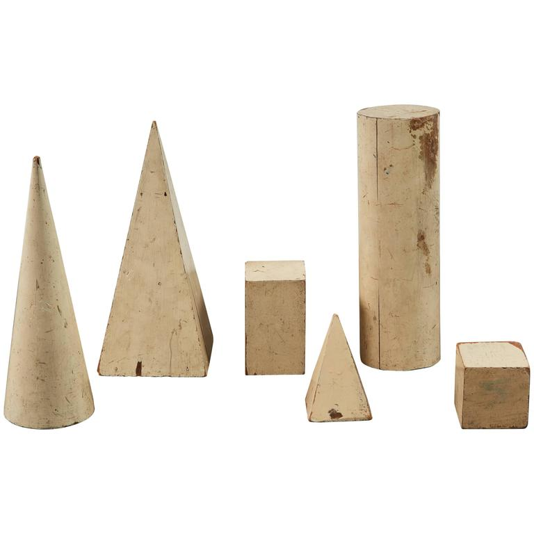 Set of French Painted Wood Geometric Forms