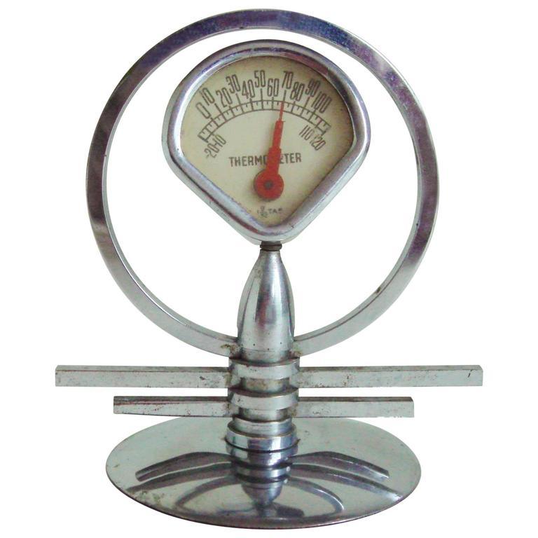 American Art Deco/Machine Age Chrome Miniature Geometric Desk Thermometer