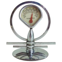 American Art Deco/Machine Age Chrome Miniature Geometric Desk Thermometer