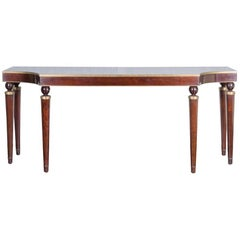 Contemporary Mahogany Console Table with Gold Tone Accents
